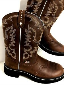 Justin Gypsy Western Boots 11B Brown Leather Cowgirl L9909 Embroidered Rodeo