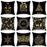 Christmas Deer Pillow Case Black & Gold Glitter Throw Cushion Cover  Home Decor