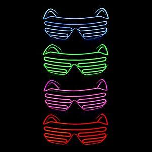 El Wire LED Light Up Glasses Neon Glow Party Rave Flashing Shutter Shade Eyewear
