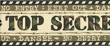 TOP SECRET NO ENTRY KEEP OUT DANGER Camo Camoflage Green Brown Wallpaper Border