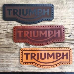Leather sew on Triumph (motorcycle jacket badge) - latest style