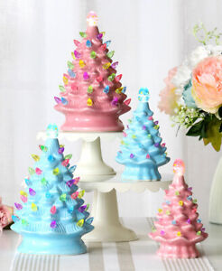 RETRO LIGHTED CERAMIC EASTER EGG TREE UNIQUE EASTER DECOR IN 3 SIZES/2 COLORS