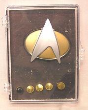 Non-Deluxe Star Trek Next Gen Plastic Communicator Pin & Metal Rank Pip Set of 6