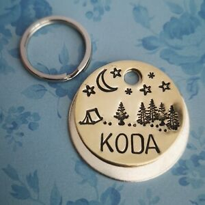 Camping night sky forest custom made handmade stamped pet dog tags ID PoshTags