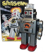 Smoking Spaceman Robot Tin Toy Battery Operated Silver