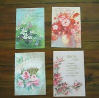 Vintage Mother's Day Cards 4 French Fold Red Pink Roses Mid Century Hallmark