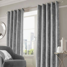 Sienna Crushed Velvet Eyelet Ring Top Pair of Fully Lined Curtains - CCVSIL09