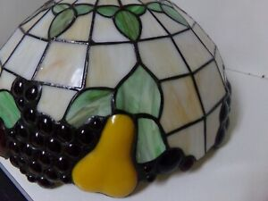 """Tiffany Reproduction Large Ceiling Lamp 16""""x10"""" Stained Glass Shade Made in USA"""