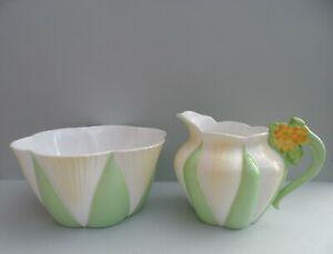 """A Shelley """"Apple Green Star"""" 11993/9 Floral Dainty shape milk jug & sugar bowl."""