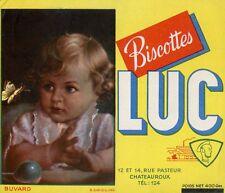 BUVARD PUBLICITAIRE / BISCOTTES LUC / CHATEAUROUX / ENFANT / BEBE