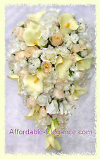 CREAM / IVORY Cascade Bridal Bouquet ~ Calla Lilies, Roses Silk Wedding Flowers