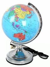 Decorative Light Up Led World Globe Lantern With Silver Stand 20Cm