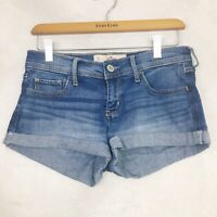 Hollister Low Rise Jean Denim Cuffed Short Shorts Size 27 5