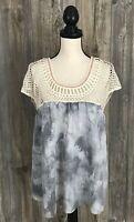 Hem & Thread Blouse Top S/M Peasant~Boho~Boxy~Crochet~Loose Fit~Ivory*Grey
