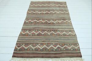"Turkish Balya Kilim Rug, Striped Design Rug, Area Rugs, Carpet, Wool Rug 52""x81"""