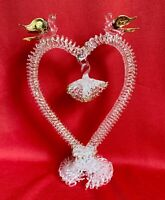 Blown Glass Wedding Cake Topper Doves Birds Hanging Bells On Heart Touch Of Gold