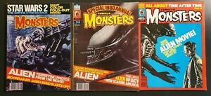 Famous Monsters of Filmland lot 156, 158, 159 ('79) Alien covers/content Geiger|