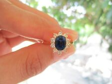 .50 Carat Diamond 1.48 Carat Blue Sapphire Yellow Gold Ring14k codeR43 sepvergar