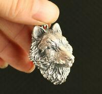 35g 999 silver hand cast wolf figure statue cool pendant netsuke necklace