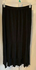 Chico's Travelers Size 2 Black Stretch Slinky Hi Low Ruffle Elastic Waist Skirt
