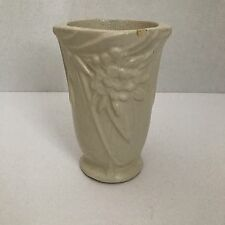 Vintage McCOY Vase Art Pottery Floral Detail Matte Ivory White 6 inches tall