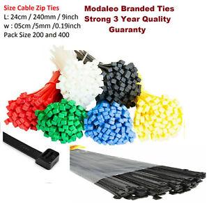 "L 9 Inch W 0.19"" Black Cable Ties Nylon Zip Tie Wraps Strong Long 200 ties UK"