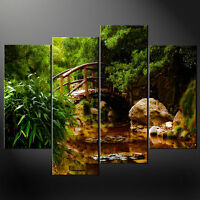 GREEN FOREST RIVER BRIDGE CASCADE CANVAS PRINT WALL ART PICTURE READY TO HANG