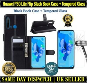 For Huawei P30 Lite Flip Black Book Case Cover Card Wallet + Tempered Glass Film