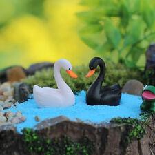 2 pcs MiniatureSwans Fairy Garden Ornament Cute Terrarium Animal Decorations