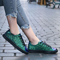 Womens Sequin Glitter Trainers Ladies Sneakers Lace up Casual Party Flat Shoes