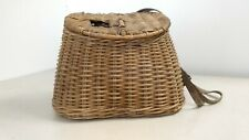 Antique Fishing Creel with Shoulder and Chest Straps Wicker Weave Very Nice