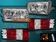 1981-1991 MERCEDES BENZ W126 S CLASS 4DR SEDAN HEADLIGHTS LED & RED TAIL LIGHTS