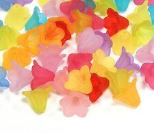 100 Blumeköpfe 10 x 14mm Bunt Matt Acryl Blüten Perlenkappen Blütenkelch D126