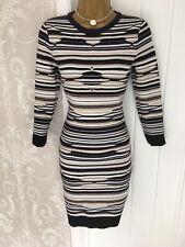 Karen Millen Pointelle Knit Stripe Bodycon Stretch Fit Dress Uk 8