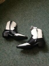 Zara Multi-Piece Black And White Leather Cowboy Boots Size 6 (39)