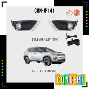 For 2017-2020 Jeep Compass Fog Lights Lamps and Assembly Set L&R Side