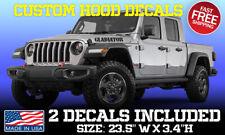 Gladiator Hood (2 Decals) Fits On Jeep Jl Jk Tj Yj Cj 4x4