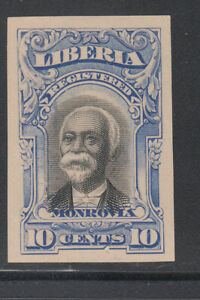 Liberia # F13 IMPERF COLOR TRIAL in BLUE On White Paper 1903 Registration Set