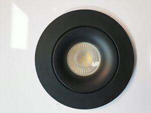 4 x Large Matt Black or Grey GU10 Tiltable Ceiling Recessed Downlight Spotlights
