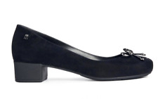 New Melissa Ultragirl Court Shoes 6 39 Black Mid Heel Flock Pump Office £75 Box