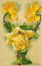 "Vintage Victorian Klein Floral Letter Initial ""Y""  2"" x 3"" Fridge Magnet"