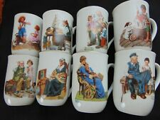 The Norman Rockwell 1982 Museum Series of 8 Porcelain Cups w/ 24K Gold Trim
