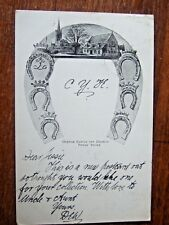 Rutland OAKHAM Church and Castle, nr  Stamford, Horseshoes Design, PC  1902
