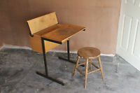 VINTAGE BACK TO SCHOOL WRITING DESK WITH HINGED LID collection only CHINGFORD E4