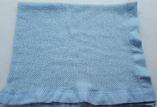 Vintage Tennessee Woolen Mills Blue Thermal Knit Baby Security Blanket Nylon