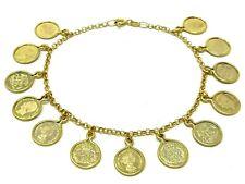 "Italian 14k Yellow Gold COIN Charm Bracelet 7.5"" 7.8 grams"