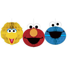 SESAME STREET Stars HONEYCOMB DECORATIONS (3) ~ Birthday Party Supplies Elmo