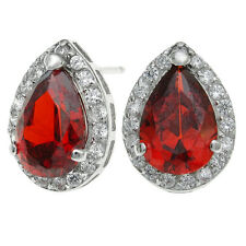 Red and Clear CZ Teardrop Crystal Earring with 925 Sterling Silver  Stud Post