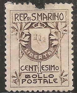 """San Marino Stamp - Scott #78/A12 1c Brown """"Coat of Arms"""" Mint/H 1910"""