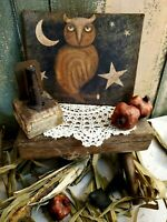 OLD PRIMITIVE VINTAGE FOLK ART STYLE FALL HALLOWEEN OWL STARS MOON  SIGN CANVAS